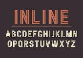 Vector retro inline bold font design, alphabet, typeface, typography. Vector illustration