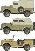 Vector illustration army car set. Available  EPS-8, AI-10, CDR-9 vector formats separated by groups and layers for easy editing