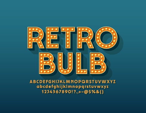 Vector Retro Light Bulb Alphabet. Vintage Letters, Numbers and Symbols for Entertainment marketing