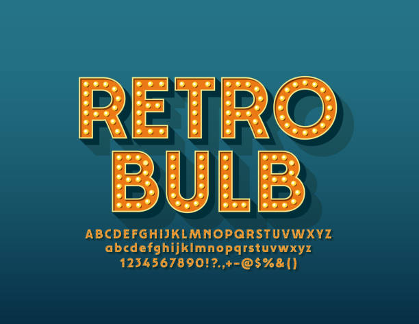 vector retro light bulb alphabet. vintage letters, numbers and symbols for entertainment marketing - иллюминация stock illustrations