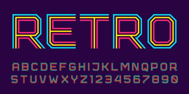 レインボー スタイルのベクトル レトロなライン フォント。 - バブルのフォント点のイラスト素材/クリップアート素材/マンガ素材/アイコン素材