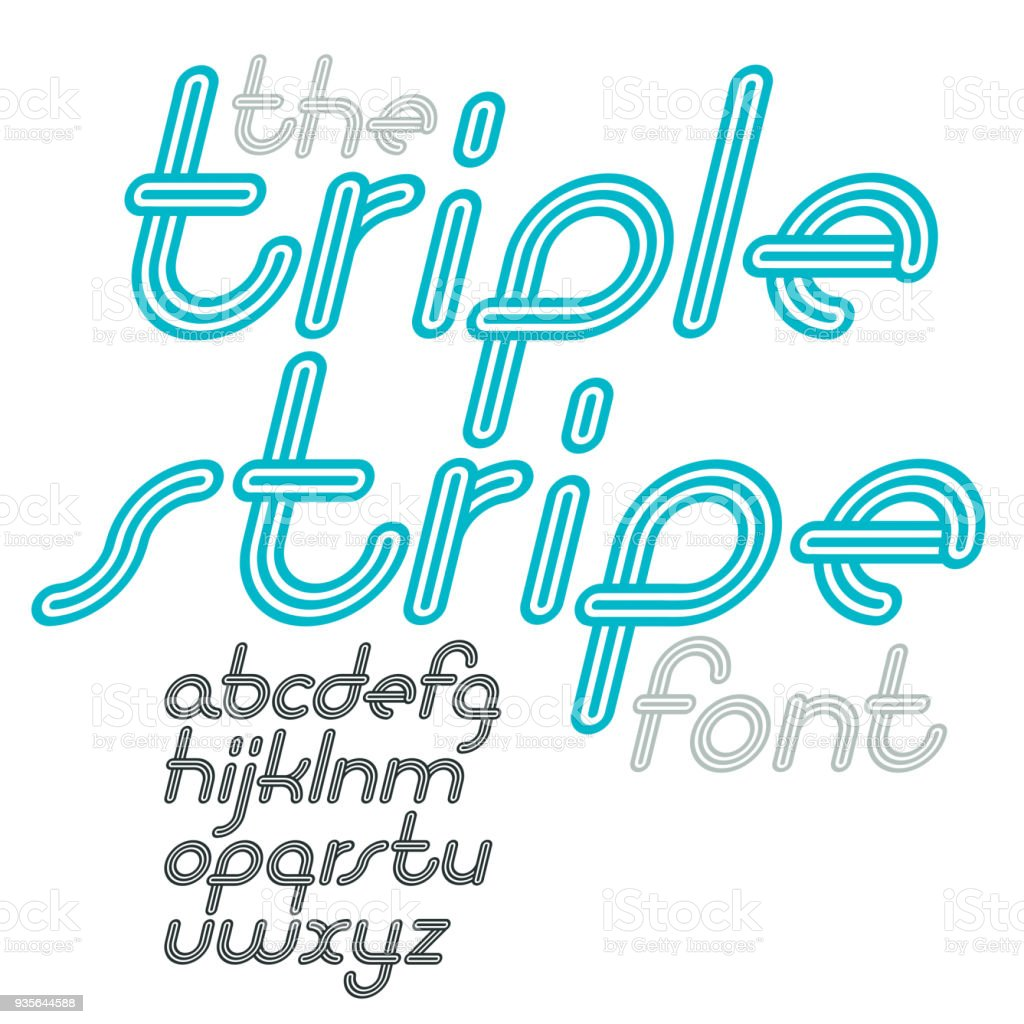 Vector Retro Lowercase English Alphabet Letters Collection Cool Disco Cursive Font Script From A