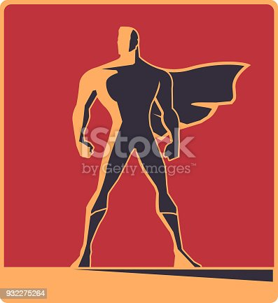 A vector retro style illustration of a silhouette of a male superhero with a cape blown by the wind.