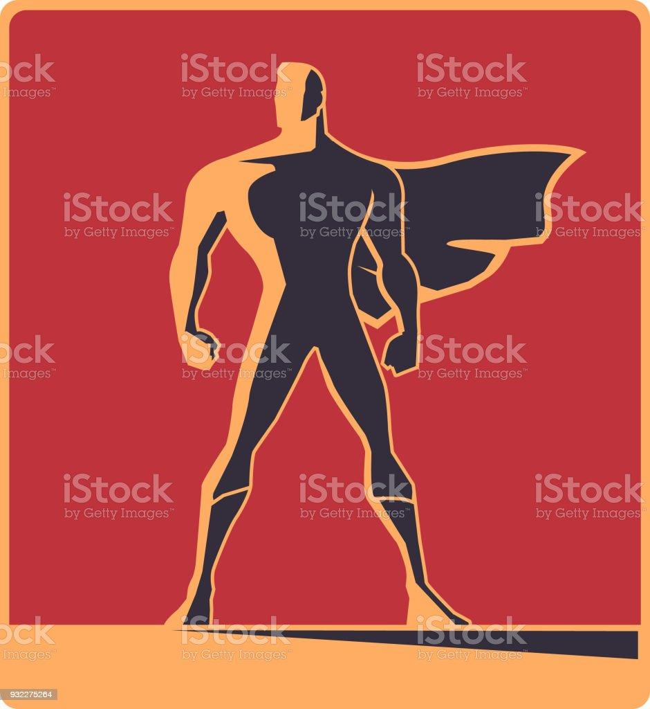 Vector Retro Male Superhero Silhouette Illustration vector art illustration