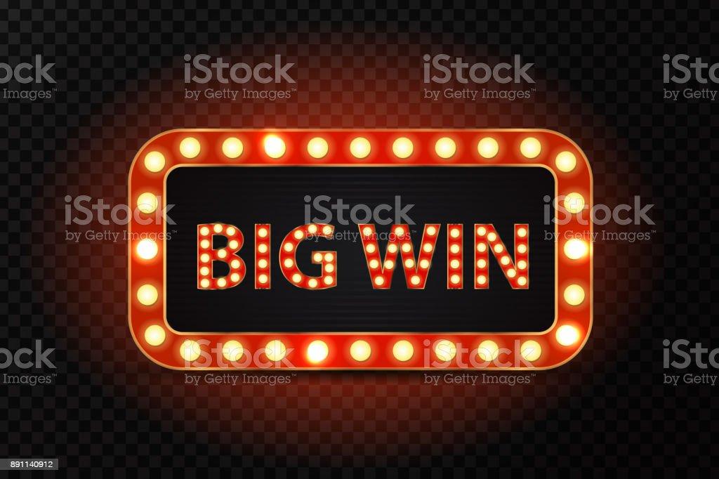 透明な背景に光るランプで大きな勝利のベクトル レトロなネオン看板。勝者、カジノや授賞式の概念。 ベクターアートイラスト