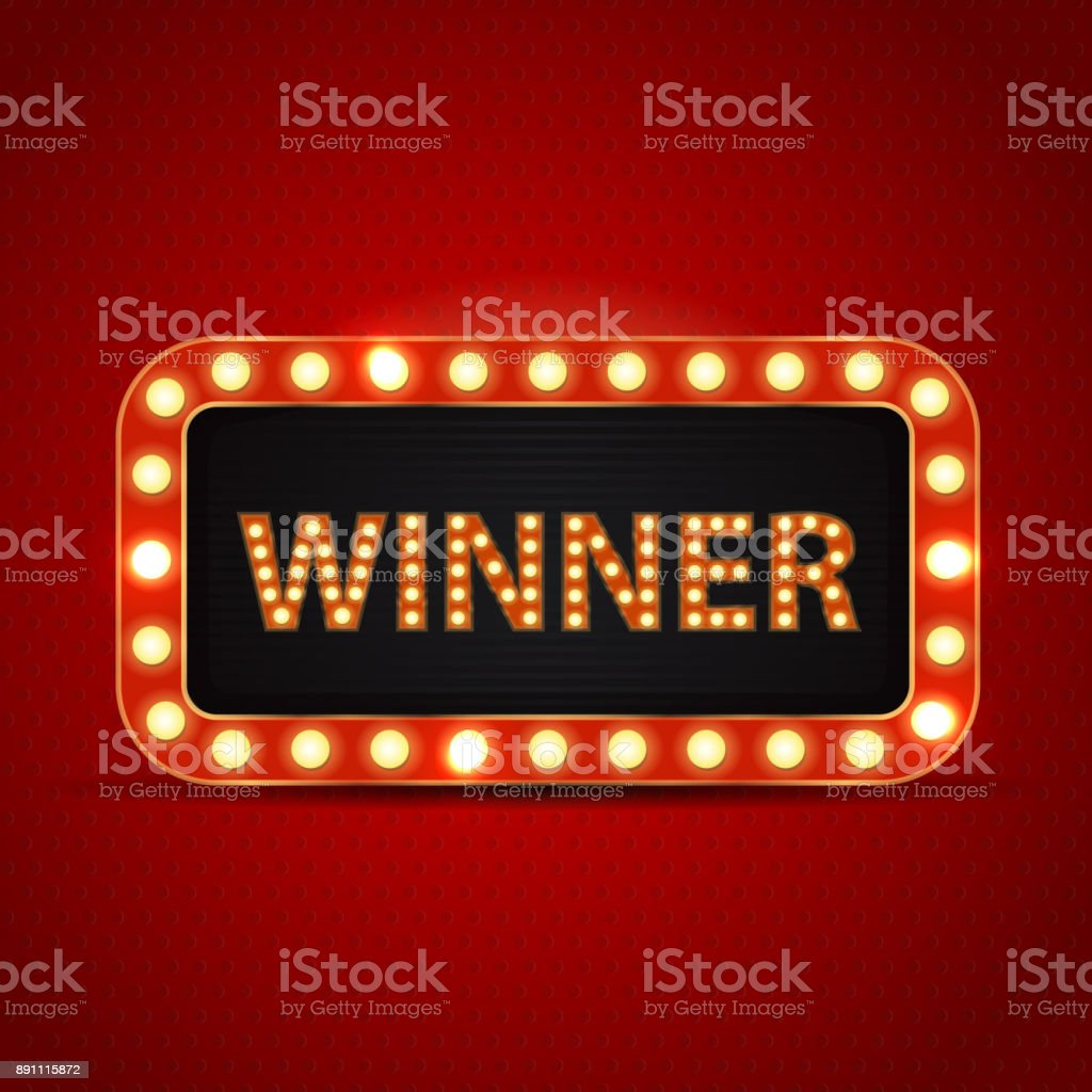 Vector retro neon billboard for winner and glowing lamps on the red background. Concept of winning, casino and award ceremony. vector art illustration