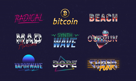 Vector Retro neon logo set. Synthwave, Outrun, Vaporwave, Cyberpunk, Bitcoin. 9 trendy logo templates. 1980's emblems with neon and chromium effect. Print for t-shirt, tee. Hipster logo design.