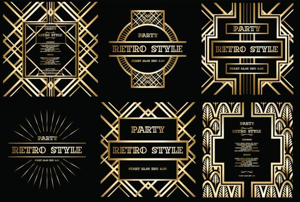 vector retro pattern for vintage party - 1920s style stock illustrations, clip art, cartoons, & icons