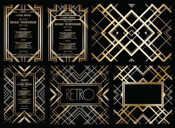 vector retro pattern for vintage party vector retro pattern for vintage party Gatsby style, Art Deco geometric gold pattern invitational stock illustrations