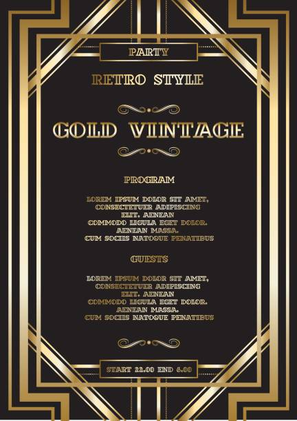 vector retro pattern for vintage party vector retro pattern for vintage party Gatsby style, Art Deco geometric gold pattern party conference stock illustrations