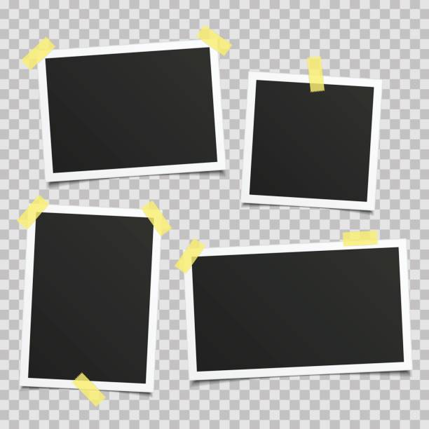 Vector retro photo frame set. vector art illustration