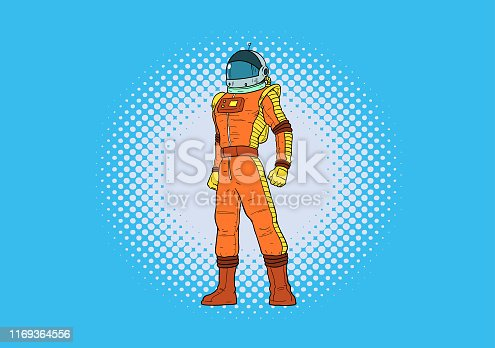 A retro pop art style vector illustration of an astronaut, isolated in color thus easy to pick and edit.