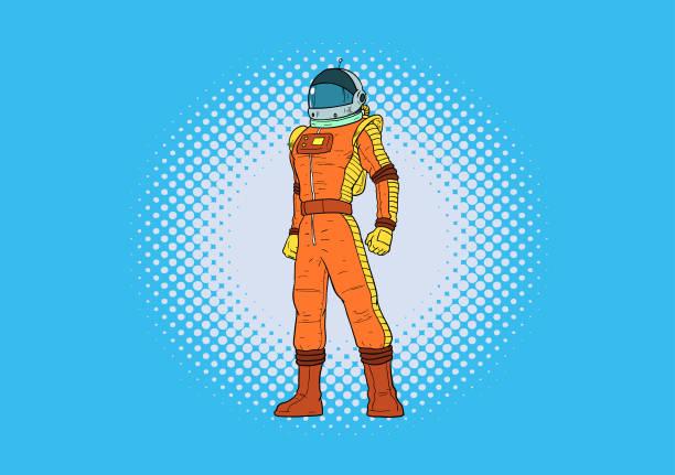 Vektor Retro Pop Art Astronaut Illustration – Vektorgrafik