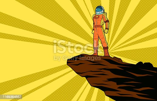 A retro pop art style vector illustration of an astronaut standing on a cliff with halftone sunburst effect in the background. Layered easy to edit.