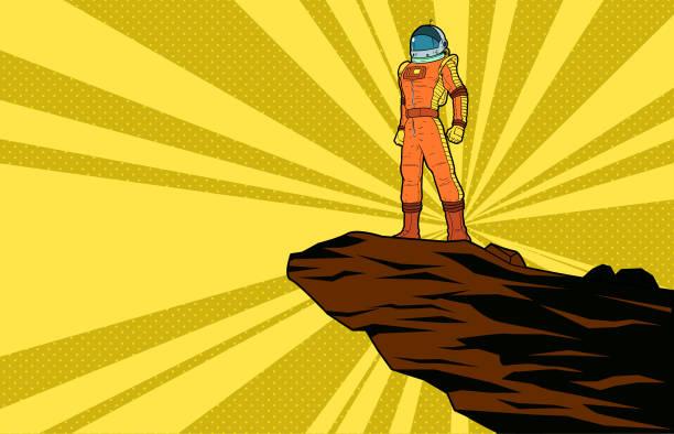 Vektor Retro Pop Art Astronaut stehen auf einer Klippe mit Halbton Hintergrund Illustration – Vektorgrafik