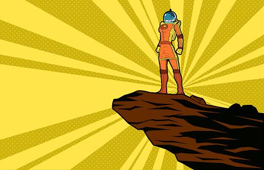 Vector Retro Pop Art Female Astronaut Illustration