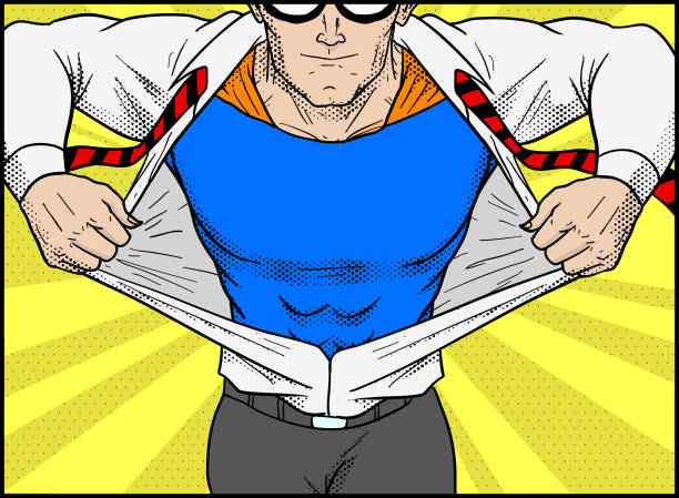 Vektor Retro Pop Art Superhelden Transformation Illustration – Vektorgrafik