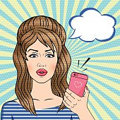 Vector retro Pop art woman holding pink mobile phone with talk cloud in comic style