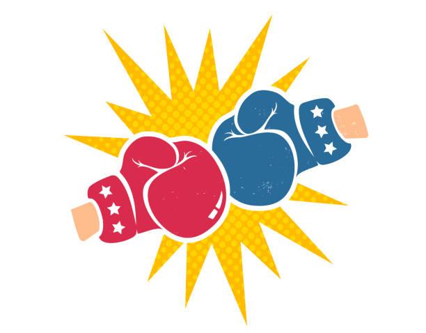 stockillustraties, clipart, cartoons en iconen met vector retro poster voor boksen - bokshandschoen