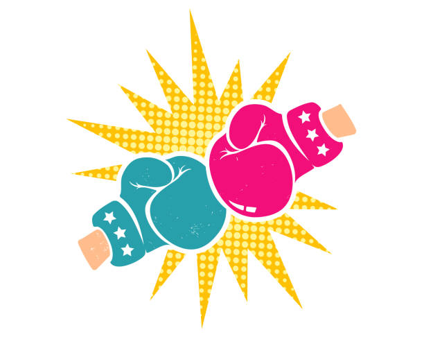 stockillustraties, clipart, cartoons en iconen met vector retro poster voor boksen - knock out