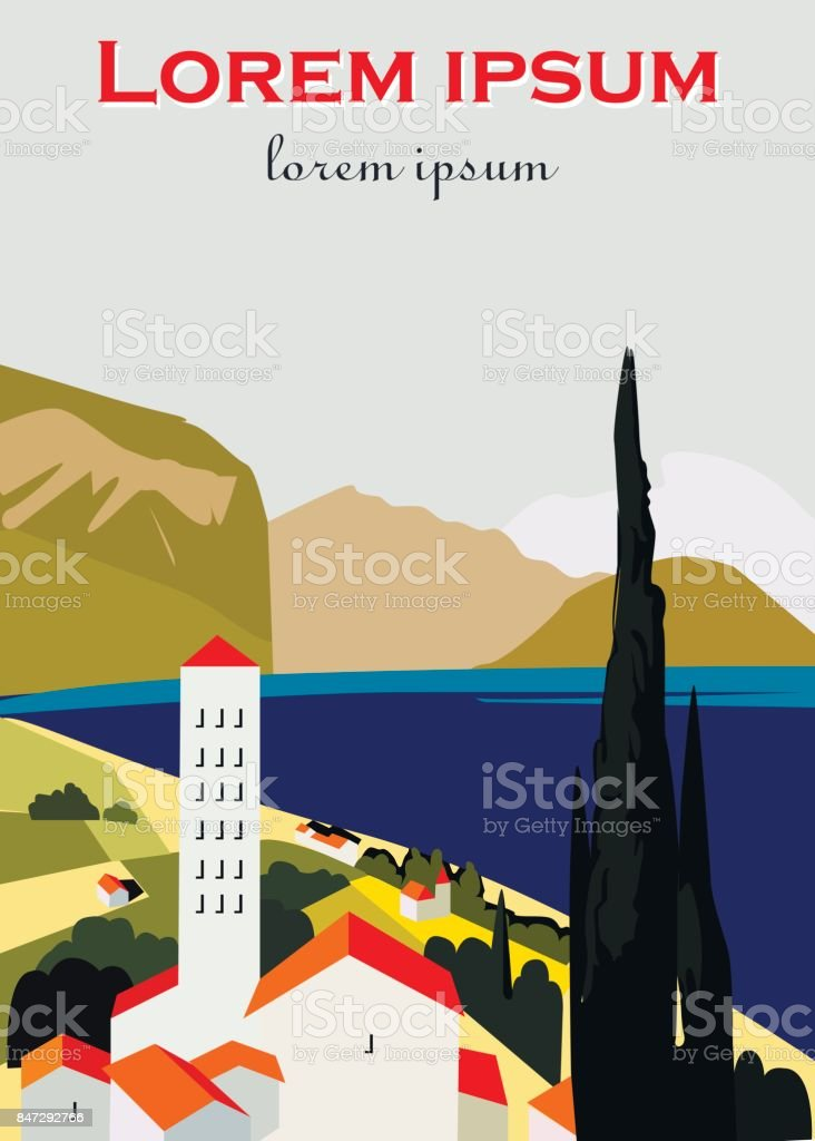 Vector retro poster. Italian or greece city . Vacation in Italy. Flat design. vector art illustration