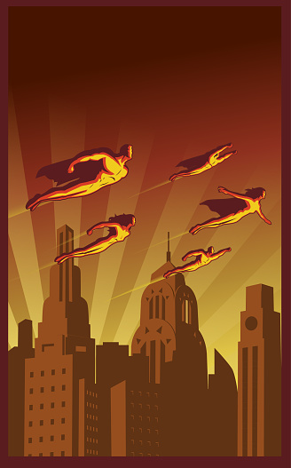 Vector Retro Poster of Flying Superhero Team above the City