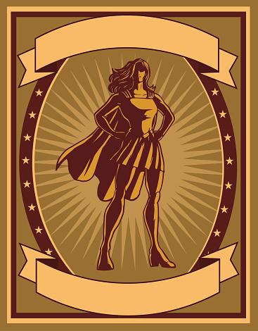 Vector Retro Propaganda Female Superhero Poster