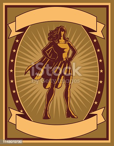 A retro propaganda style poster illustration of a female superhero with banners for your text.