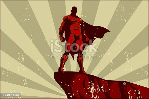 A retro propaganda style poster illustration of a superhero standing on a rock with sunburst in the background and grunge effect on the foreground.