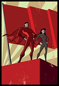 A retro Soviet propaganda style illustration of a superhero couple standing in costumes with a blank flag in the background fir copy space. Objects are grouped and layered, easy to edit.