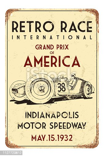 Vector retro race car wall poster. Race car illustration created from hand drawn art.
