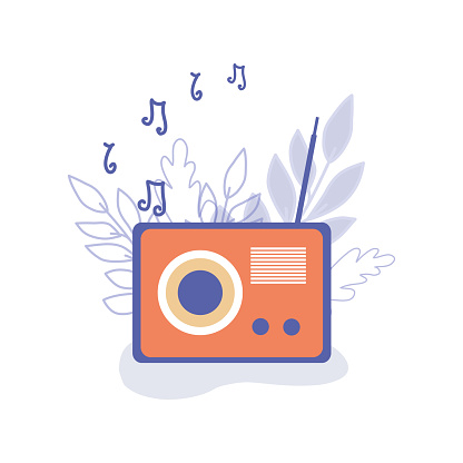 Vector retro radio with notes and leaves. Vector illustration. Flat style