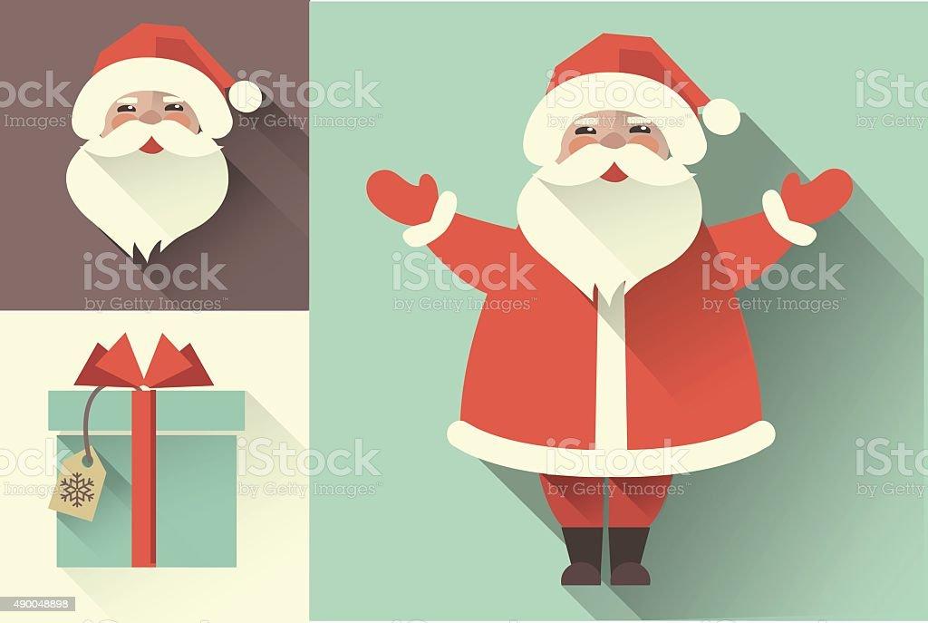 Vector retro Santa Claus. Flat collection vector art illustration
