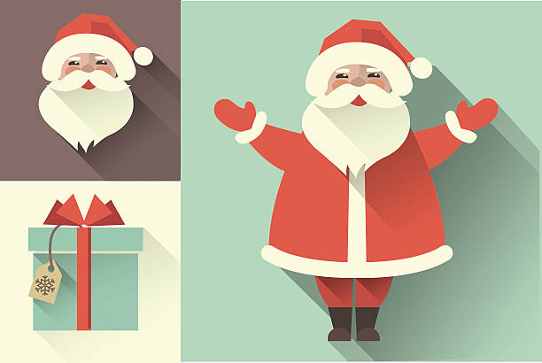 vector retro santa claus. flat collection - old man smile silhouette stock illustrations