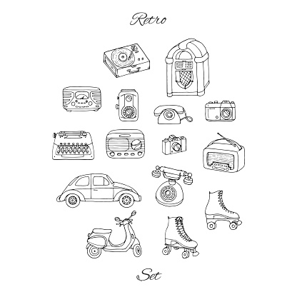 Vector retro set with antique tech, car, scooter, juke box, radio, typewriter, roller skates, cameras and vinyl record player