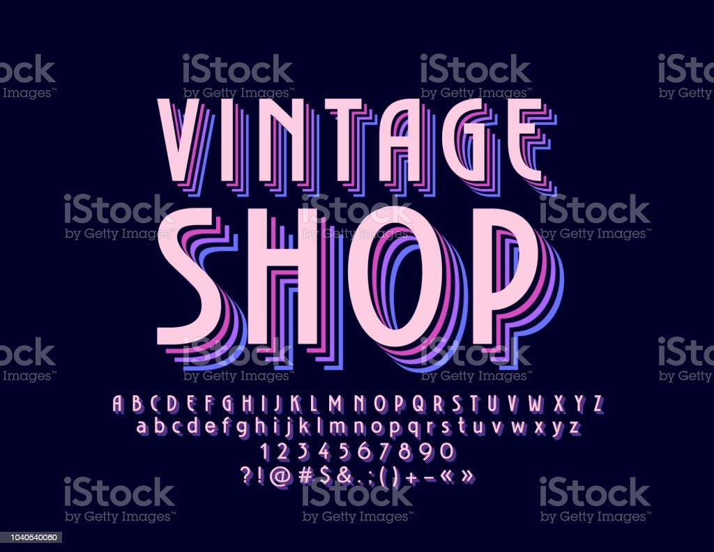 Vector retrô Vintage Shop com alfabeto ilustração de vector retrô vintage  shop com alfabeto e mais bc9f0547886