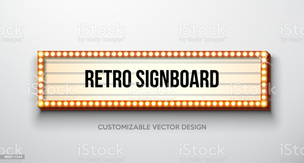 Vector retro signboard or lightbox illustration with customizable design on clean background. Light banner or vintage bright billboard for advertising or your project. Show, night events, cinema or theatre light bulb frame. royalty-free vector retro signboard or lightbox illustration with customizable design on clean background light banner or vintage bright billboard for advertising or your project show night events cinema or theatre light bulb frame stock illustration - download image now