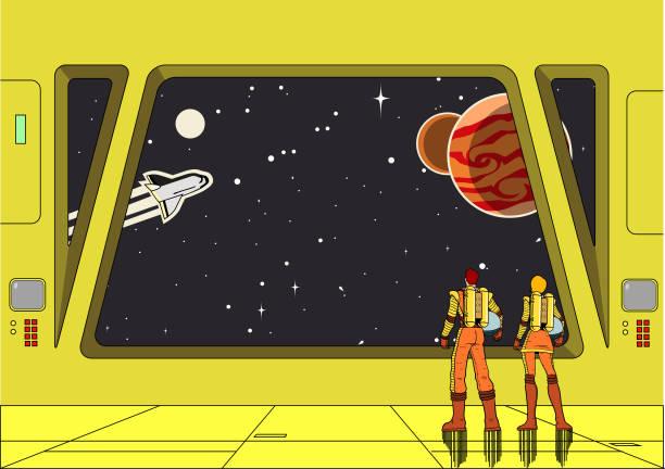 Vektor Retro Space Astronaut Paar in Raumschiff Blick auf den Weltraum – Vektorgrafik