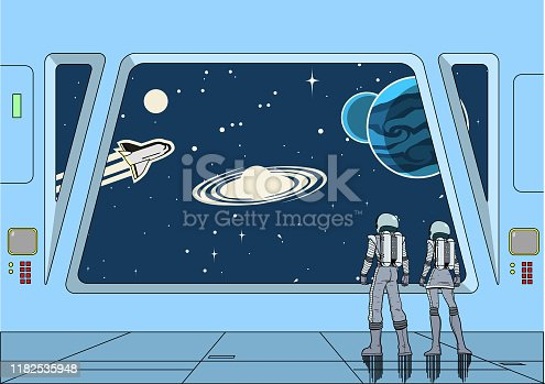 A retro cartoon style vector illustration of a couple of astronauts inside a spaceship while looking at the outer space with galaxy, stars, and planets. Wide space available for your copy.