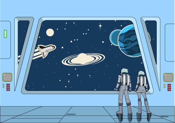 Vector Retro Space Astronauten Paar in einem Raumschiff Blick auf den Weltraum – Vektorgrafik