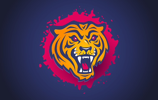 Vector retro sport logo with head of a tiger.