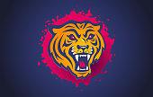 istock Vector retro sport logo with head of a tiger. 1330782844