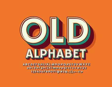 Vector Retro style 3D Alphabet Letters, Numbers and Symbols