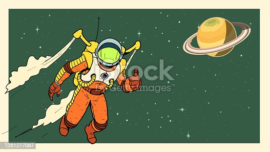 istock Vector Retro Style Flying Astronaut in Space Stock illustration 1251277057