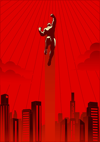 A vector retro style illustration flying upward with city skyline in the background.
