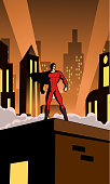 A vector retro style illustration of a superhero on top of a roof in an art deco city setting.