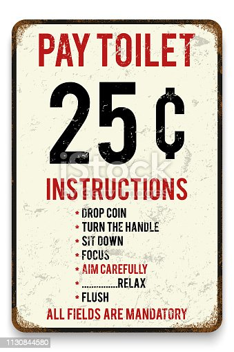 Vector retro style tin poster or sign background. Pay toilet metal placard Humor poster.