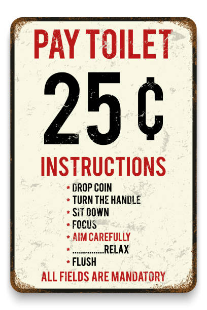 Vector retro style tin poster or sign background. Vector retro style tin poster or sign background. Pay toilet metal placard Humor poster. bathroom borders stock illustrations