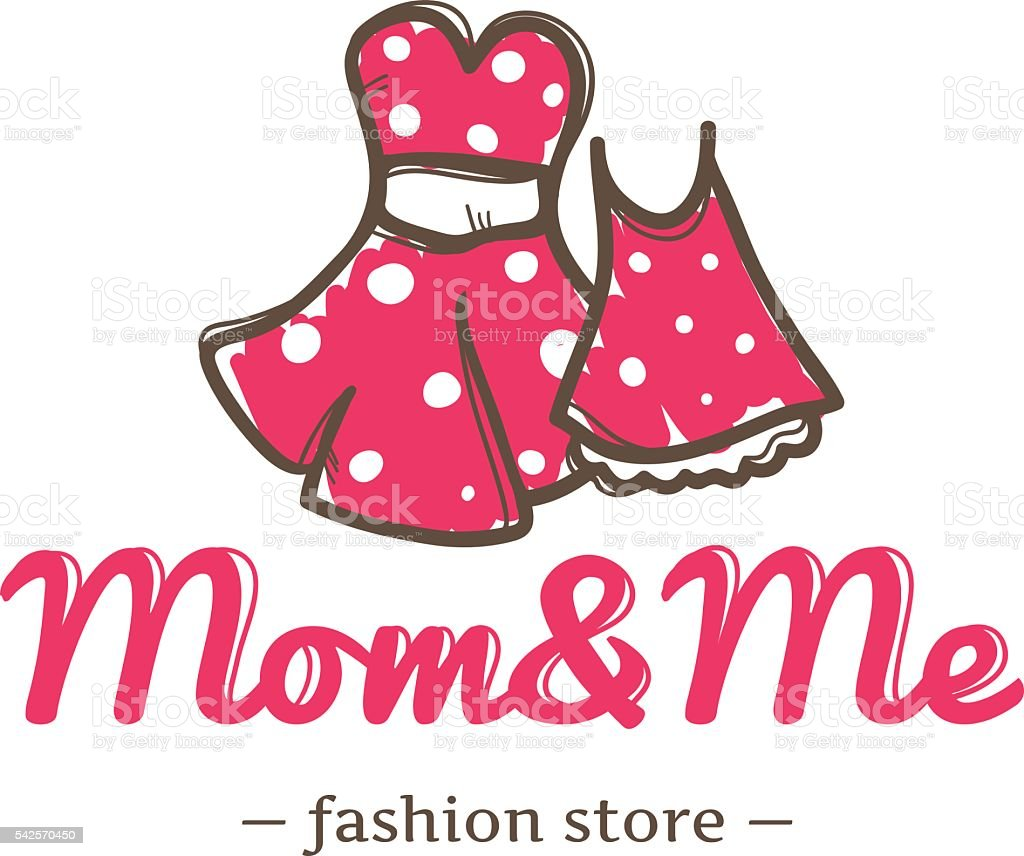 Vector Retro Style Two Dresses For Mother And Daughter Symbol Stock