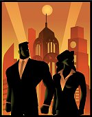 A retro propaganda style poster illustration of a couple of worker, man and woman posing with an art deco themed city skyline in the background.